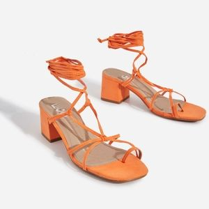 Orange Lace Up Block Heels